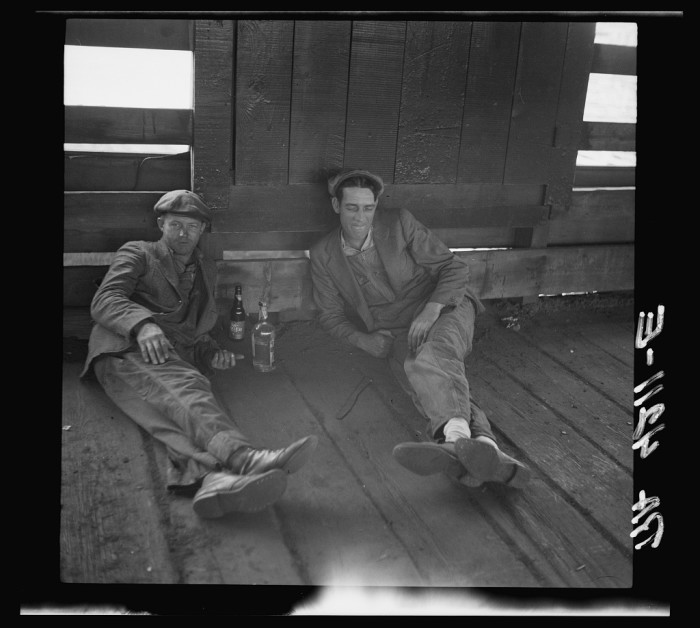 "6. ""Drovers at rest in stockyards. Kansas City, Kansas."" (1936)"