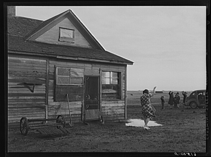 "6. ""Mrs. Sauer waving goodbye to children who are going to school. Cavalier County, North Dakota"""
