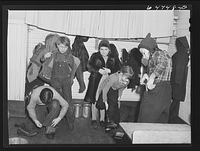 "4. ""Morton County, North Dakota. Going outside to play for noon recess at a rural school"""