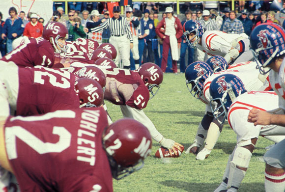 9. Ole Miss and Mississippi State University get ready for some football at the much-anticipated Egg Bowl, circa 1970.