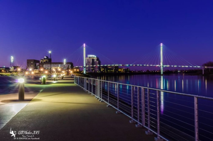 20. This is a really lovely view of the Bob Kerrey pedestrian bridge from Omaha's riverfront.