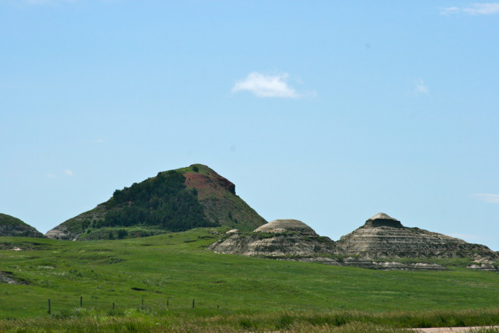 5. Interestingly pointed hills in the western half  of North Dakota.