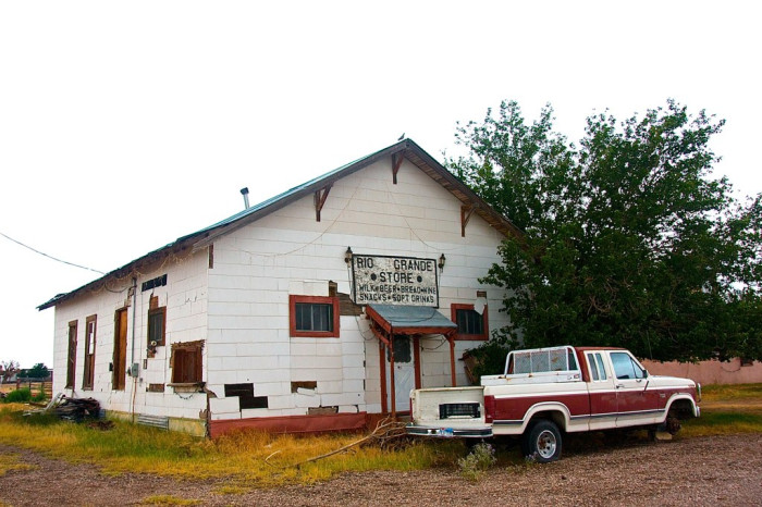 This general store used to see customers daily, however few. Now, it sees its own four walls with nothing in between - emptiness.