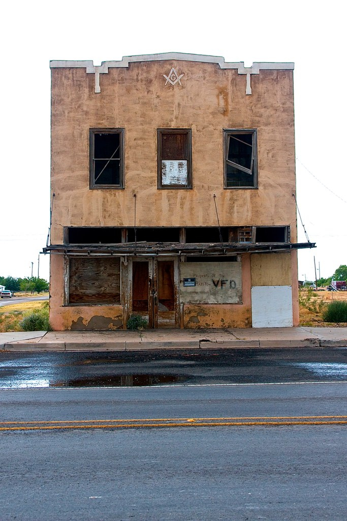 An old masonic lodge building. The Brotherhood of Barstow is long gone.