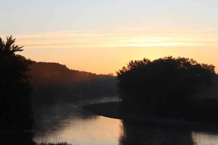A picturesque river sunrise - sunrises in south dakota