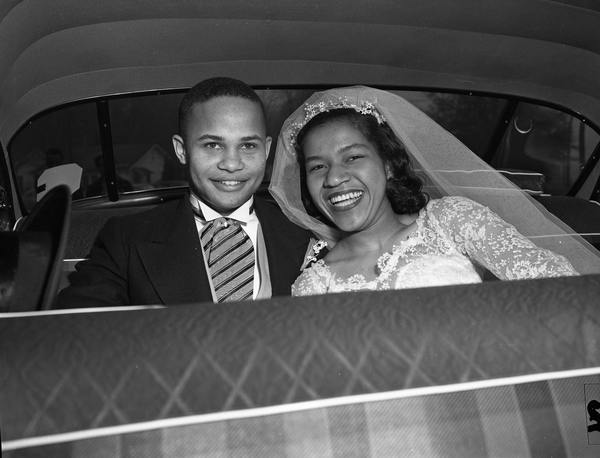 17. Unidentified African-American couple on their wedding day in Tallahassee, December 1954