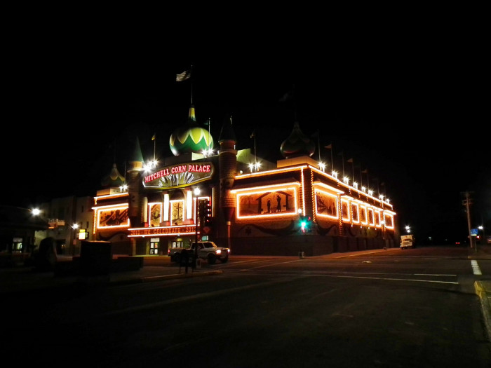 The Corn Palace in Mitchell, SD - photographed at night