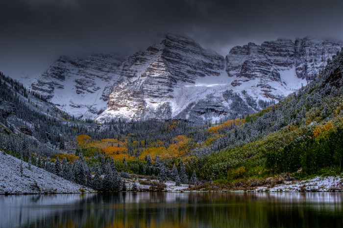 """5. """"Got up early Monday morning to head up to the Maroon Bells and there was probably a good three inches of snow. The clouds didn't start breaking up over the Bells until about 9 AM or so. I thought the snow and clouds turned out to be a blessing in disguise. I would think this weekend would be a great time to be out there as the colors are likely at their peak."""""""