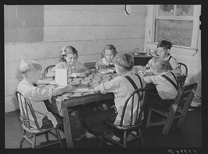 20. A one room school house was common in smaller communities.