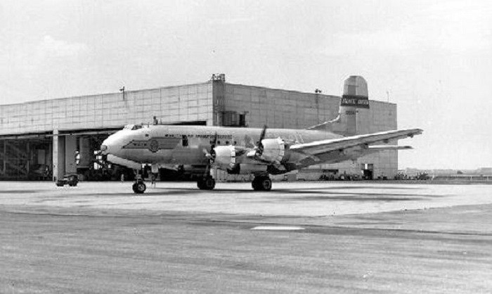 5. 1701st Air Transport Wing Douglas C-74 Globemaster at Brookley AFB in the early 1950s---a former United States Air Force base in Mobile, Alabama.
