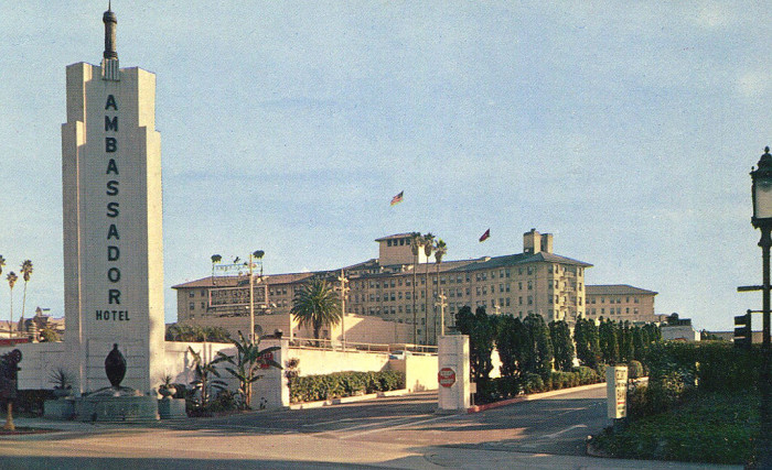 6. The Ambassador Hotel in Los Angeles as photographed in 1959 long before Robert F. Kennedy was assassinated there. The hotel was later demolished in 2005.