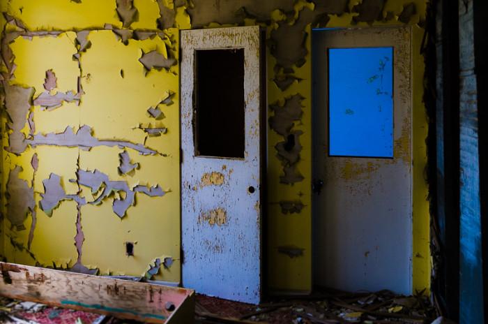 7. Doors in a hallway between a common room and patient rooms
