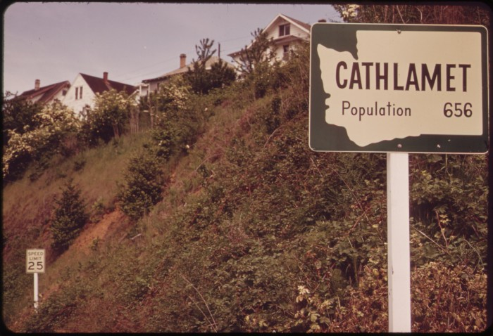 10. Heading into the tiny town of Cathlamet in 1973, by the Columbia River.