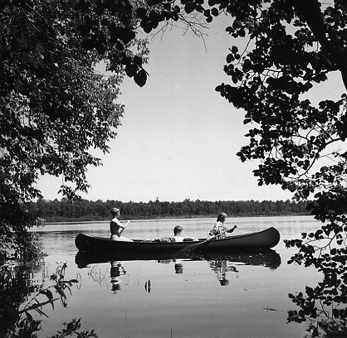 4. These Girl Scouts of Minneapolis were canoeing at Camp Cassaway on Cass Lake in 1961.