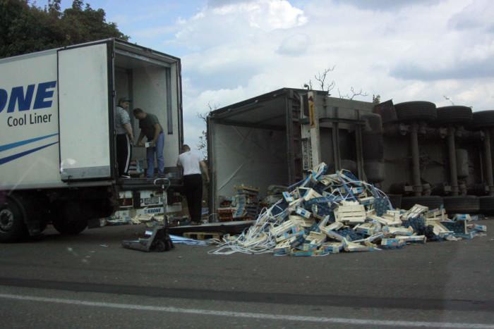 Crash truck overturned