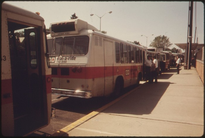 11. Dial-A-Ride buses waiting for passengers in Haddonfield circa 1974.