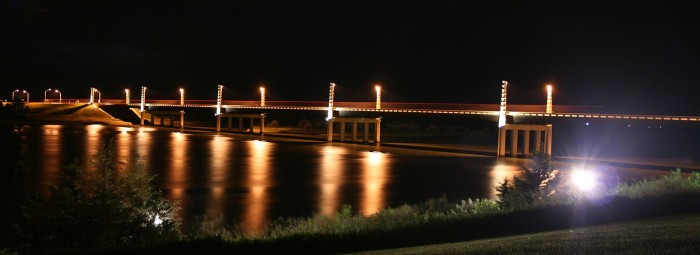 Yankton's Discovery Bridge - photographed at night