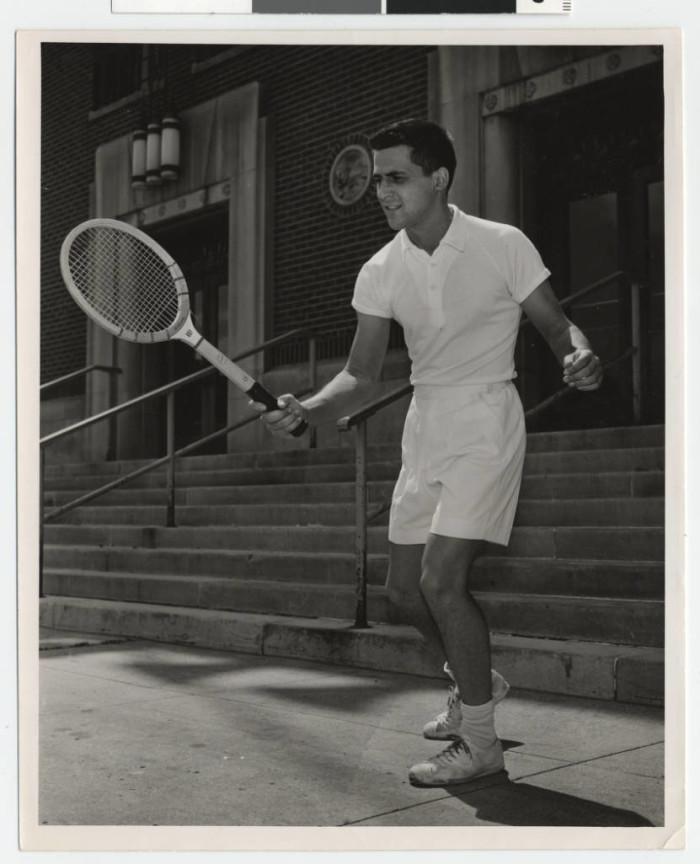 9. This is Felix Phillips, Captain of the University of Minnesota 1955 Men's Tennis Team.