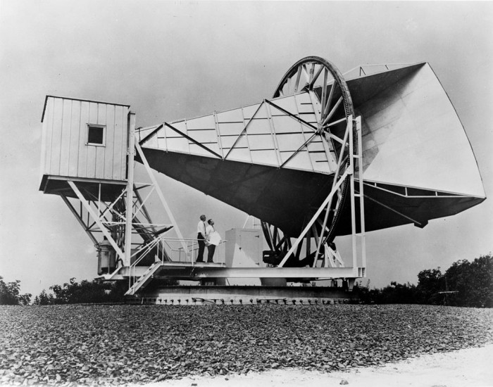 11. The Holmdel Horn Antenna in 1967. In 1964,  astronomers Robert Wilson and Arno Penzias discovered cosmic microwave background radiation with this antenna, for which they were awarded a Nobel prize in physics.