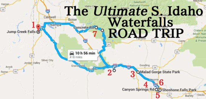 Shoshone Idaho Map.The Ultimate Southern Idaho Waterfalls Road Trip