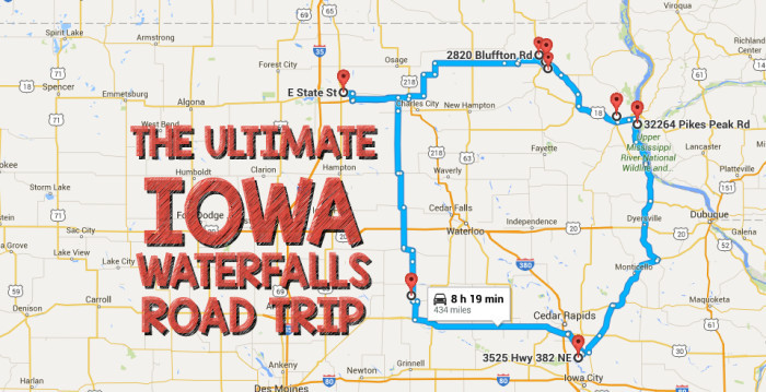 The Ultimate Iowa Waterfalls Road Trip - Road map of iowa