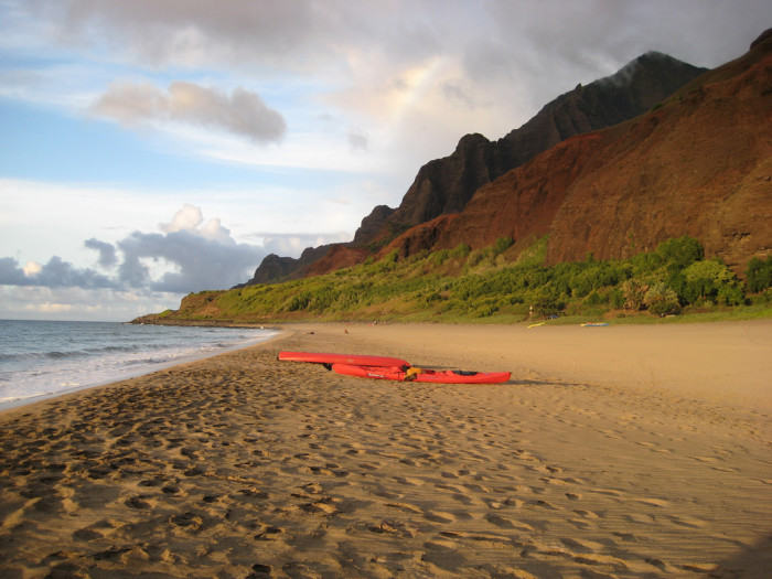 Fun fact: Though Kalalau Beach is the most remote beach in all of Hawaii, it is rumored that there are illegal squatters who live in the valley – including nudists, hippies and Vietnam War veterans – who seek the solitude provided by the serene Na Pali Coast.