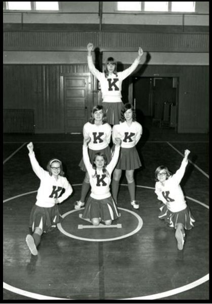 14. Kirksey High School in Calloway, circa 1960, when cheerleaders wore longer skirts then the basketball players wore shorts.