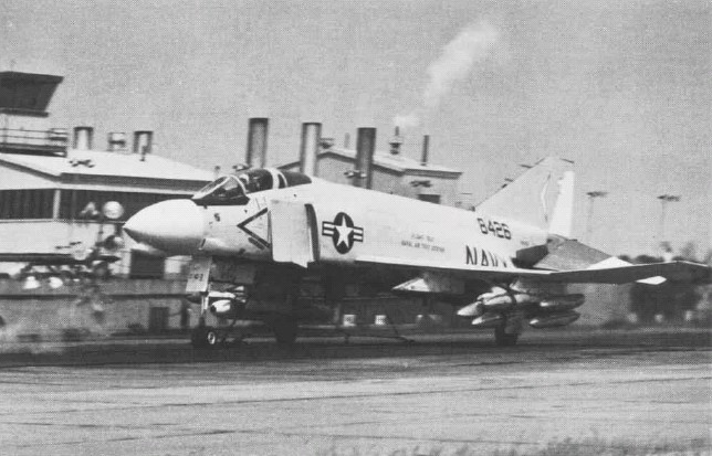 15. A U.S. Navy McDonnell F-4B Phantom II fighter during catapult tests at Naval Air Test Facility Lakehurst in 1978.