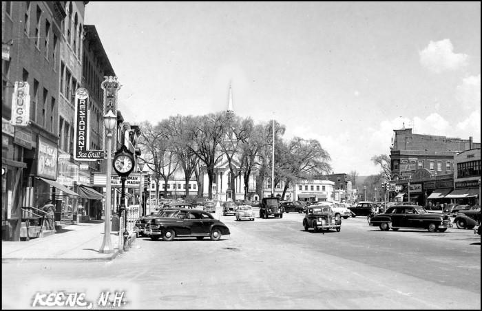 6. Main street in Keene in black and white...