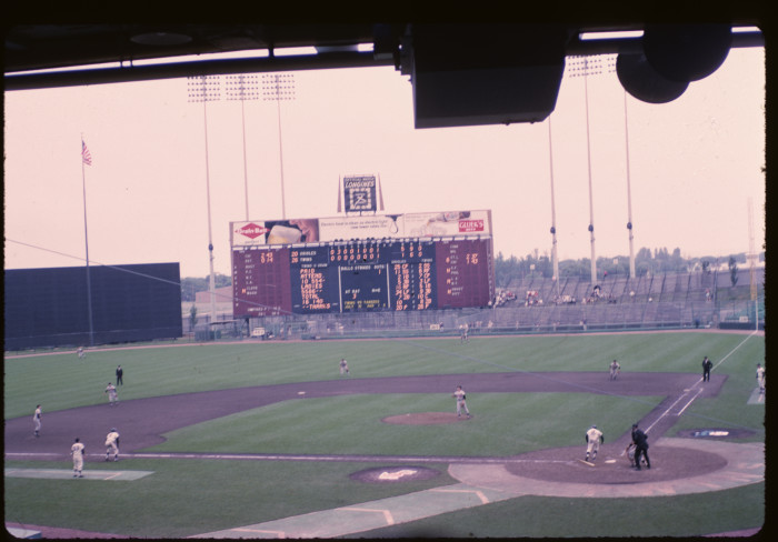 6. In 1965, this shot was captured of a Twins - Orioles game at Metropolitan Stadium.