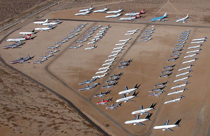1. Where retired airplanes go to die. More than 1,000 commercial airliners are housed at the Mojave airport.