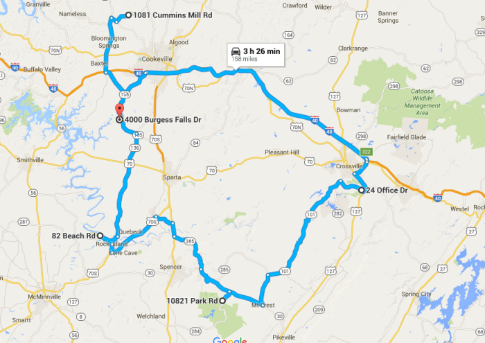 Ultimate Middle Tennessee Waterfall Roadtrip - Tennessee road map