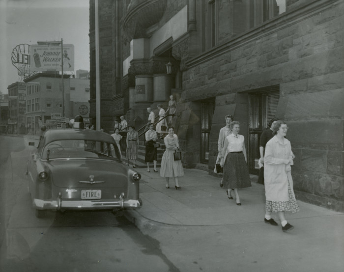 15. In 1957, the Minneapolis Public Library conducts an evacuation drill.