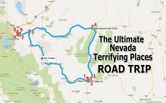 Nevada terrifying places road trip map