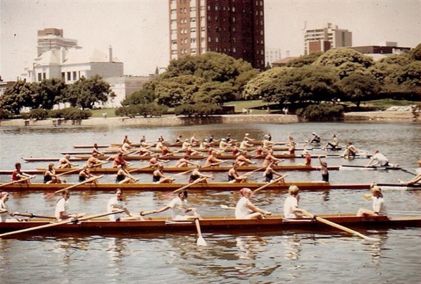 17. Oregon's first women's rowing crew, 1973.