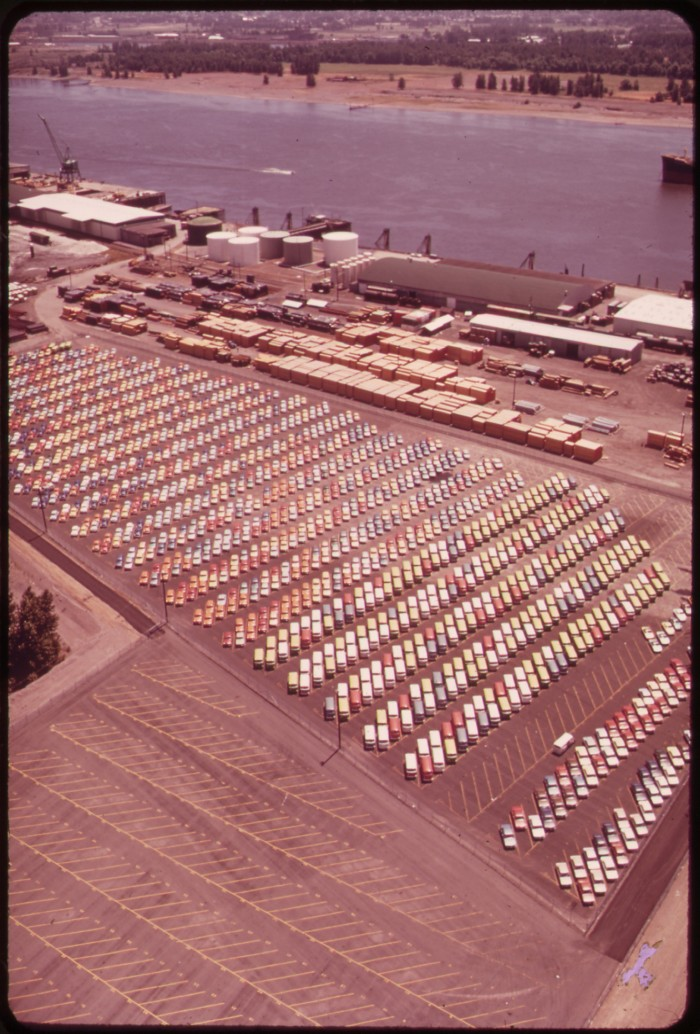 7. A colorful assortment of parked cars at Hayden Island in Portland, 1974.