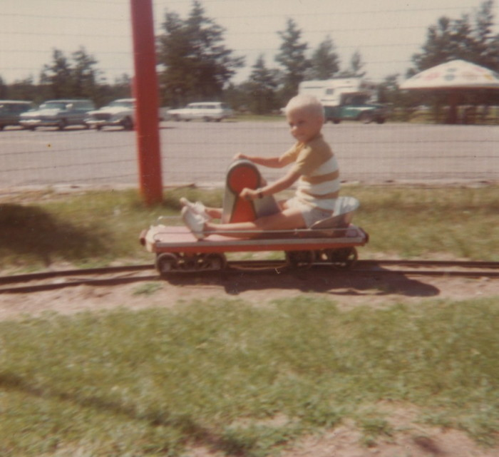 5. In 1966, this child was riding   on the hand petal powered railcar at Paul Bunyan Land in Brainerd.