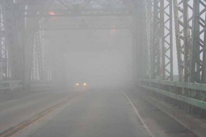 11. This photo of an old iron bridge in Portsmouth looks like a scene from a horror movie.