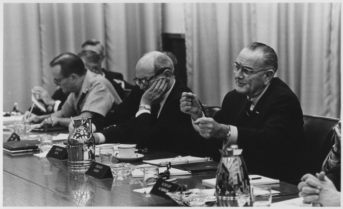 4) President Lyndon B. Johnson and Secretary of State Dean Rusk at the Honolulu Conference in 1966.