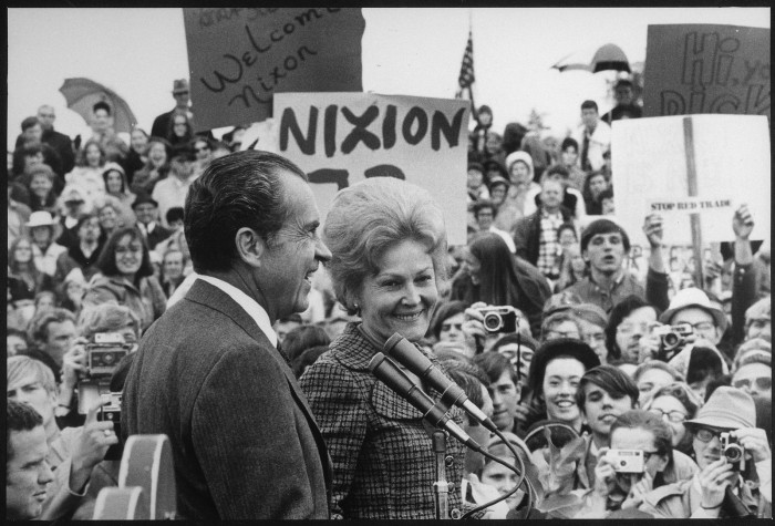 18. Mr. and Mrs. Nixon arriving at Portland Air National Guard Field, 1971.