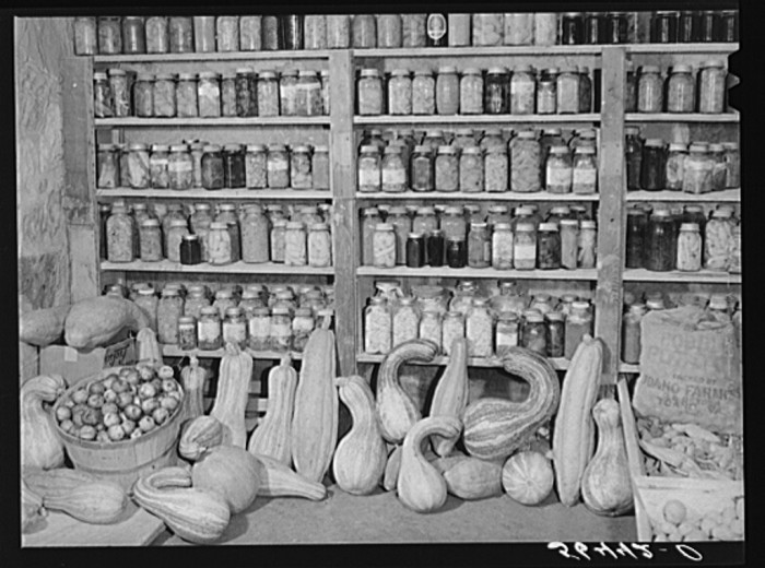 1. Real canned goods, likely made by the wives of local farmers. Even better, they were reusable.