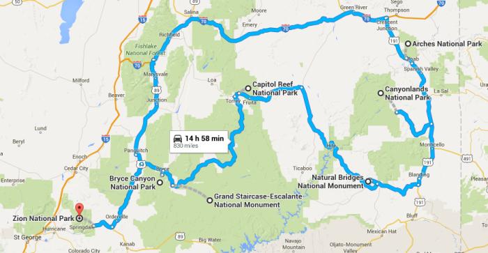 Utah National Park Road Trip - Road map of utah