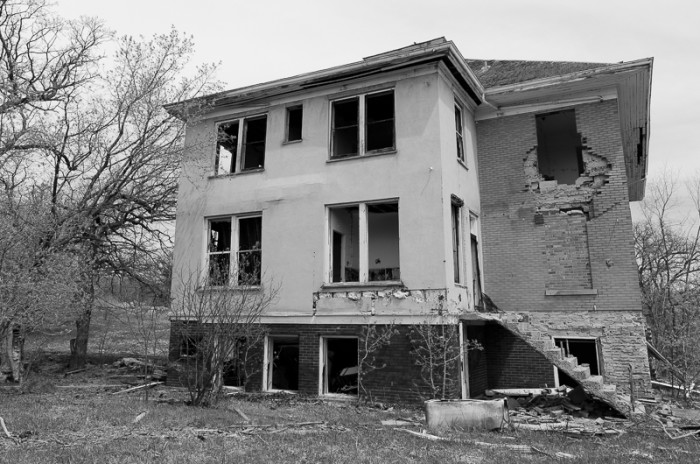 8. An eerie shot showing some of the external damage to the buildings