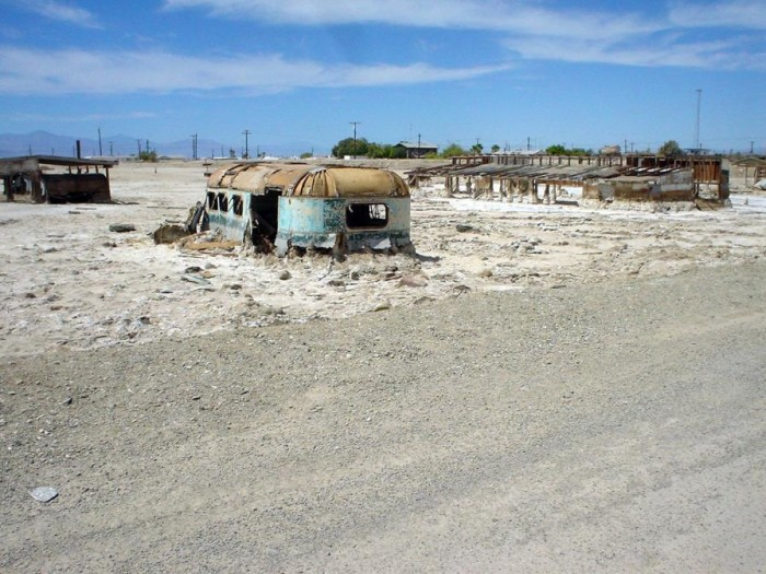 4. Abandoned structure on Bombay Beach damaged from years of salt exposure.