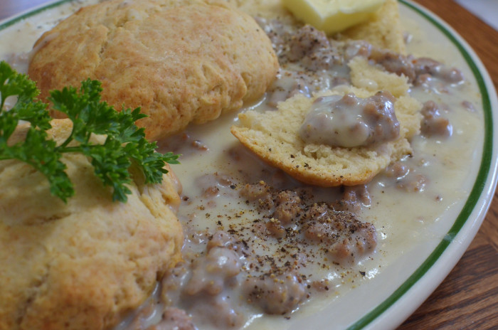 8. Sausage, biscuits and gravy
