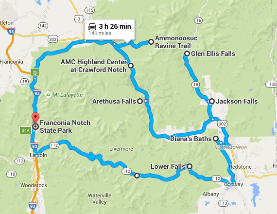 The Ultimate New Hampshire Waterfall Roadtrip - Road map of new hampshire
