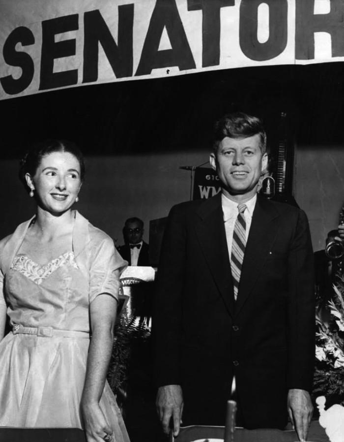 9. A young senator John F. Kennedy at a New Hampshire Young Democrats' banquet and dance.