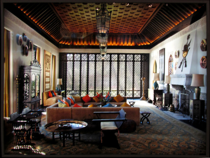 The mansion is filled with art, furnishings and architectural elements from Iran, Morocco, Turkey, Spain, India, Syria, and Egypt.