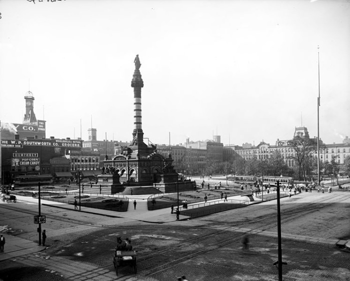 1. The Soldiers and Sailors Monument in Cleveland's Public Square, circa 1900
