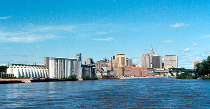 7. In 1972, this shot was captured of St. Paul from a sightseeing boat on the river!